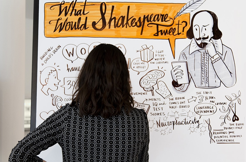 A viewer looks at visual notes with fancy hand-lettering