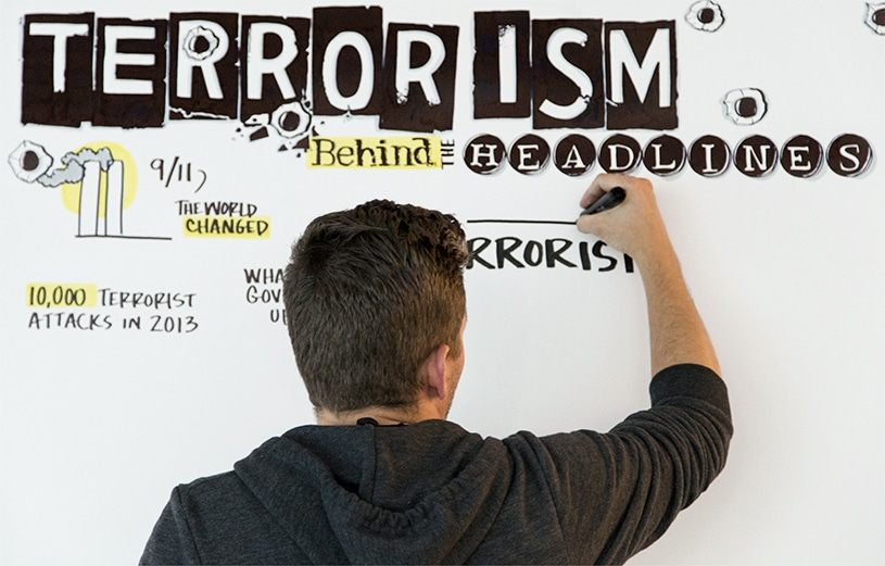 """An artist draws a title: """"Terrorism: Behind the Headlines"""" in a severe and scary looking font"""