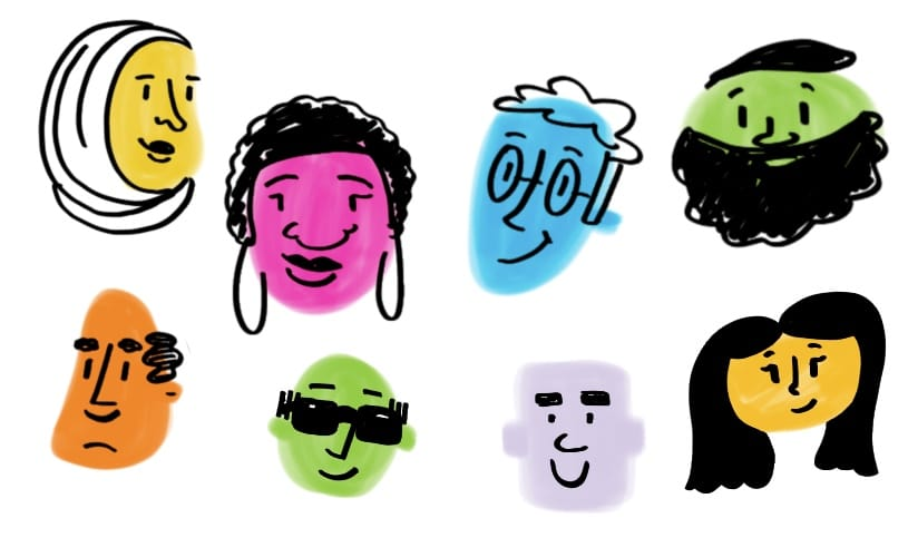 Colored blobs turned into people