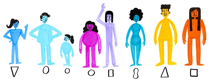 Different body types drawn according to shapes