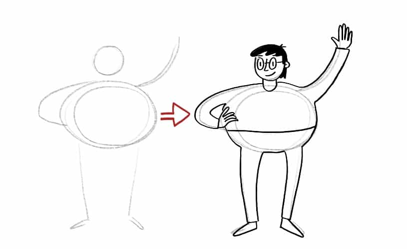 Pencil stick figure to full human