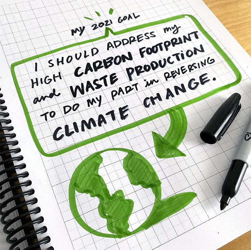 A drawing in a sketchbook of a goal to reduce carbon emissions in 2021