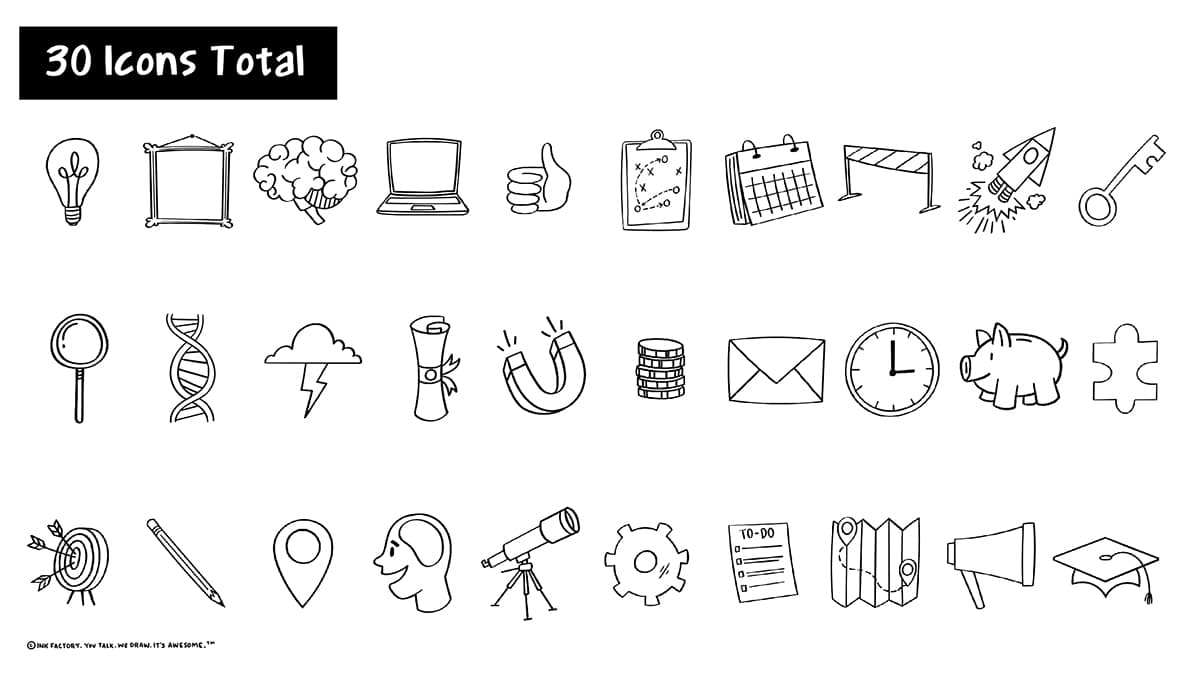 A page displaying all 30 hand-drawn icons