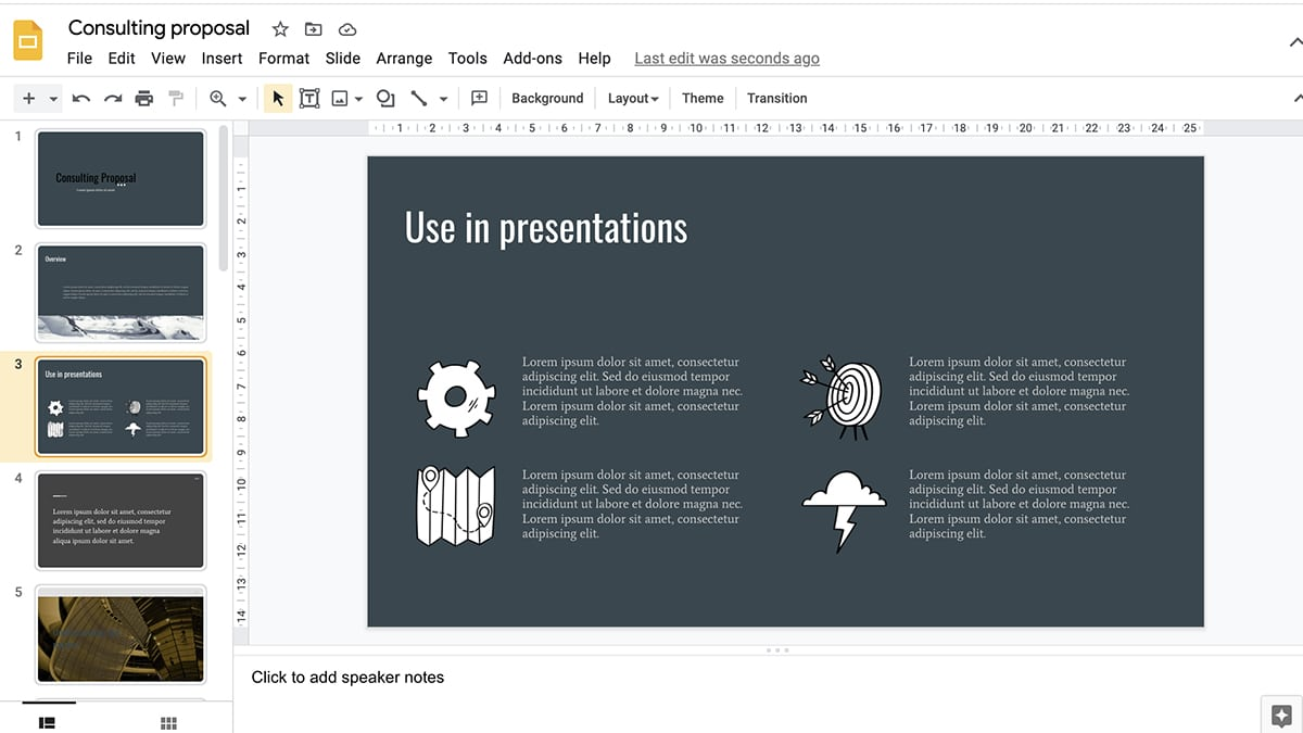 Hand drawn icons give presentations a more human feel