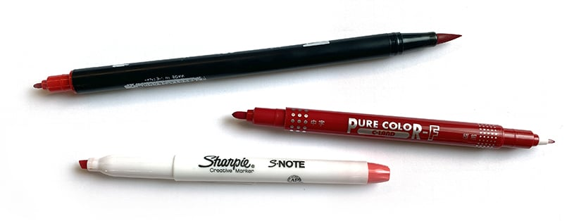 Three different color marker tools for sketchnoting