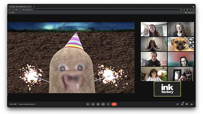 The Ink Factory team gathers around a funny video filter to combat virtual burnout